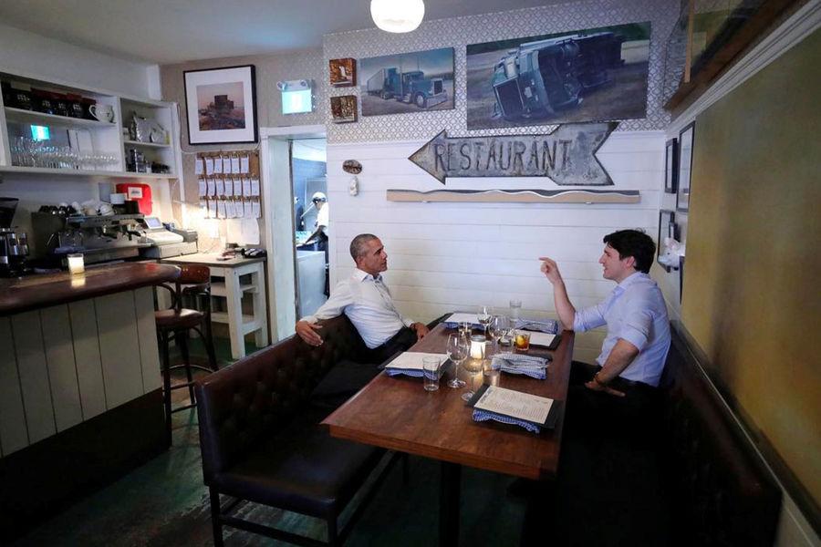 Actualite Actualite Barack Obama et Justin Trudeau, dîner détendu au Canada