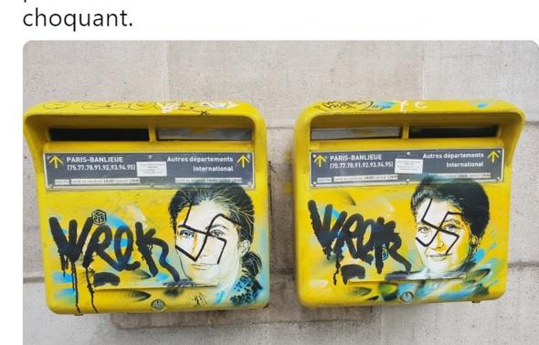 Paris Paris Des croix gammées taguées sur des portraits de Simone Veil