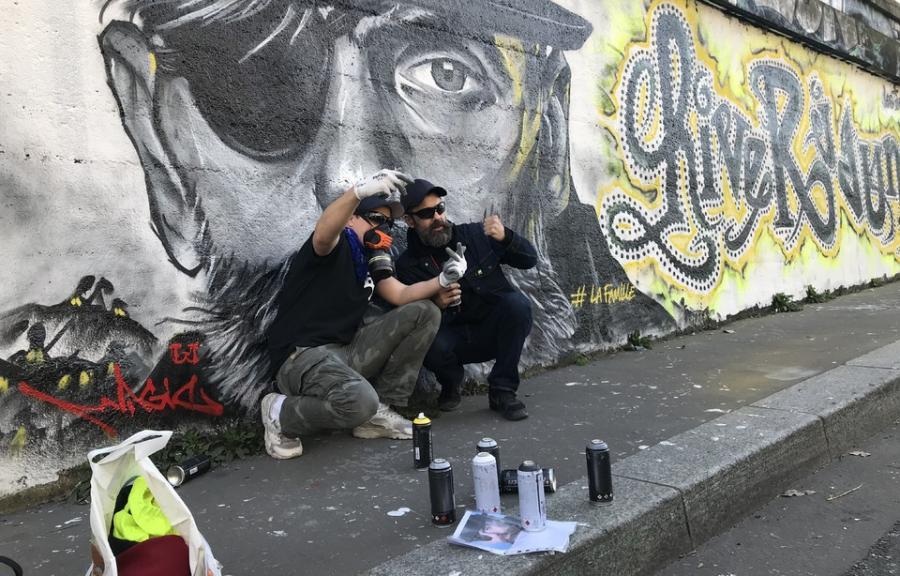 Paris Paris «Gilet jaunes» à Paris: Une seconde fresque sur le mouvement avec le visage de Jérôme Rodrigues