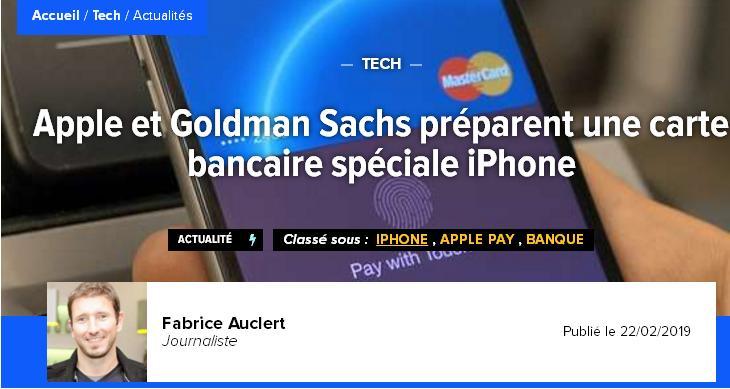 High-Tech High-Tech Apple et Goldman Sachs préparent une carte bancaire spéciale iPhone